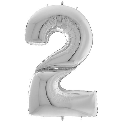 """Number 2 Silver Foil Balloon-64"""""""