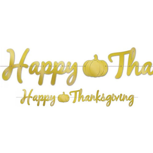 Happy Thanksgiving Gold Foil Banner