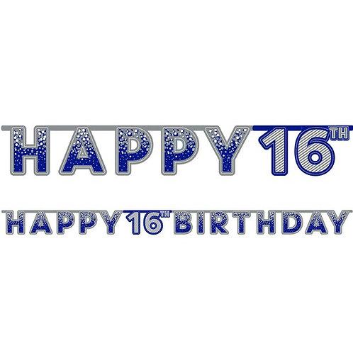 16th Happy Birthday Letter Banner Blue