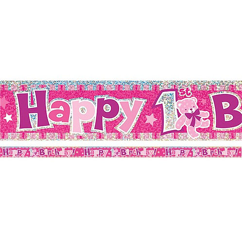 1st Birthday Pink Holographic Foil Banner