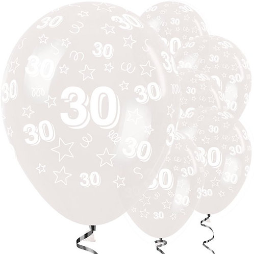 30th Birthday Clear Stars Latex Balloons