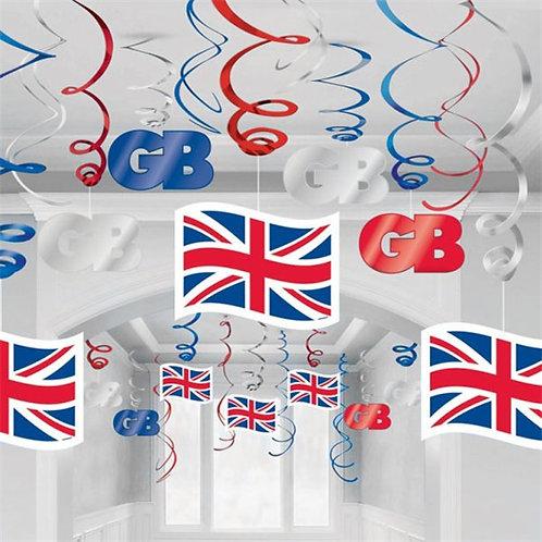 Union Jack Hanging Swirls