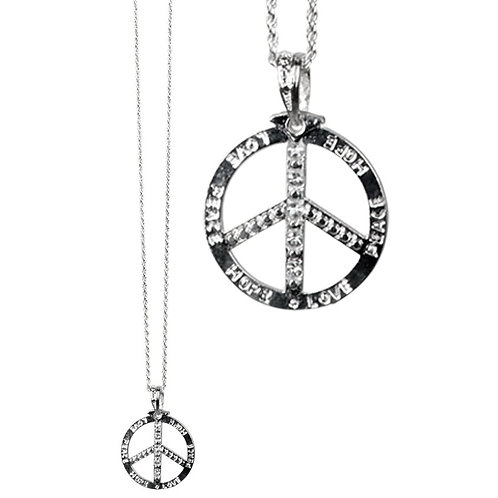 Silver Diamante Peace Necklace