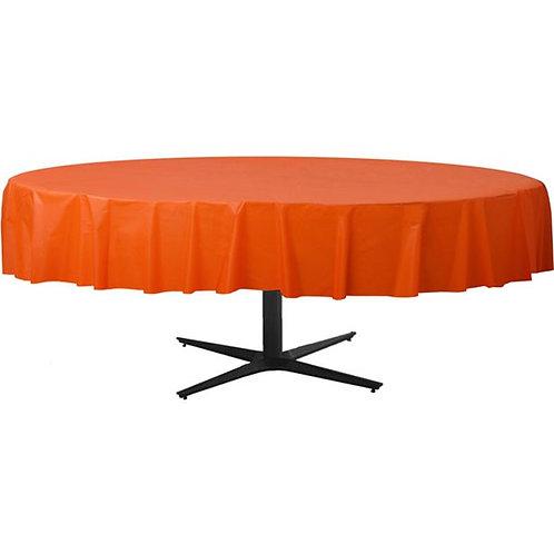 Orange Round Plastic Tablecover