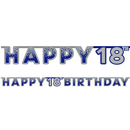 18th Happy Birthday Letter Banner Blue