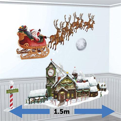 Santa's Sleigh & Workshop Scene Setter