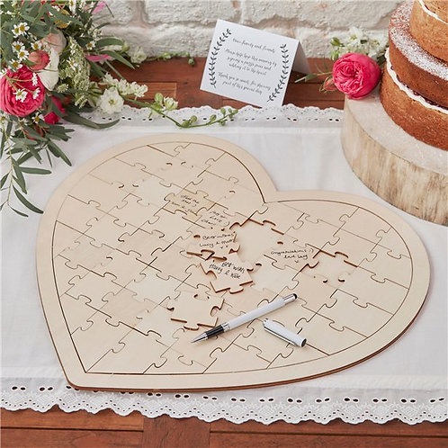 Wedding Wooden Heart Jigsaw Guest Book