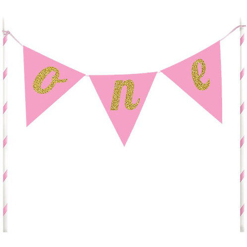 One Pink Glitter Cake Bunting