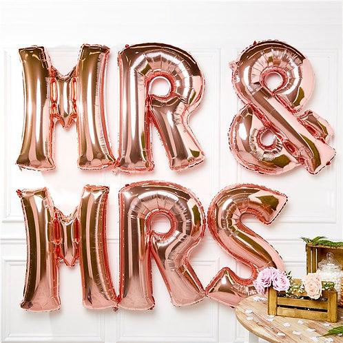 Rose Gold Mr & Mrs Foil Balloons