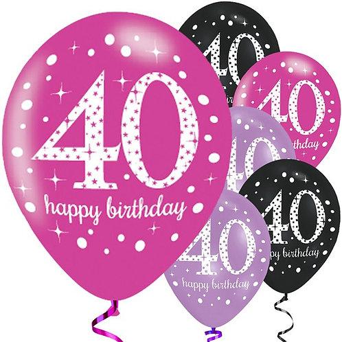 Happy 40th Birthday Pink Mix Balloons