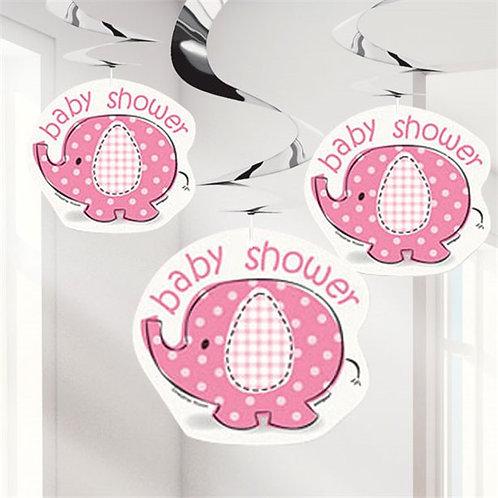 Pink Girl Elephant Swirl Hanging Decoration