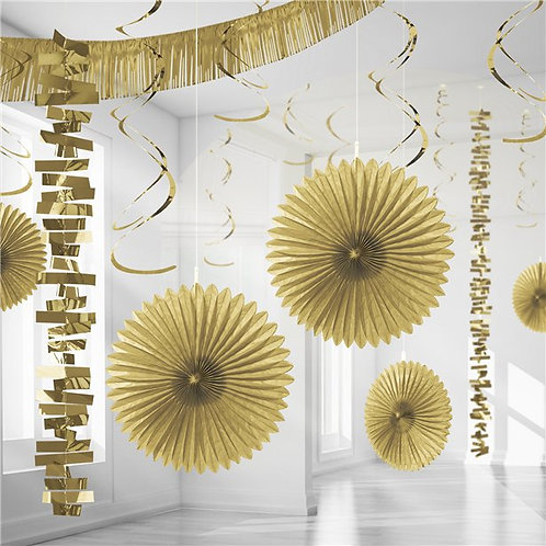 Gold Paper & Foil Room Party Decorating Kit