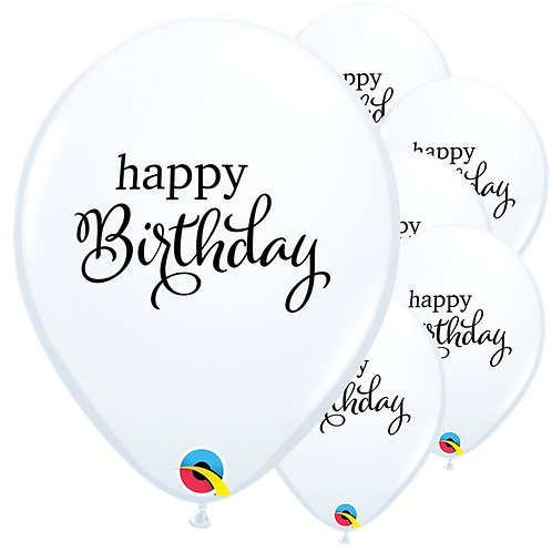 Happy Birthday White Balloons