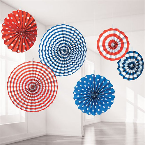 Red, White & Blue Paper Fan Decorations