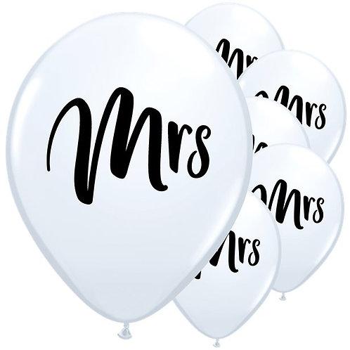 Mrs White Latex Balloons