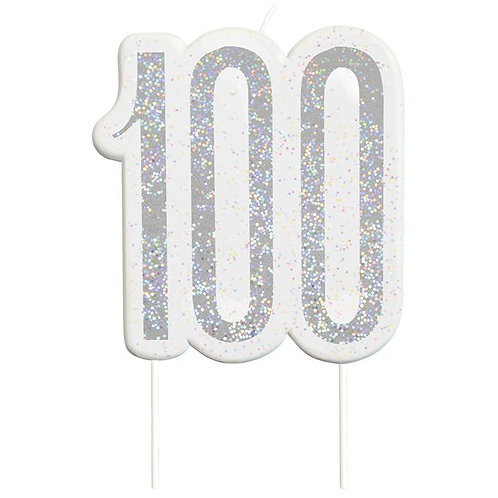 100th Birthday Silver Glitter Cake Candle