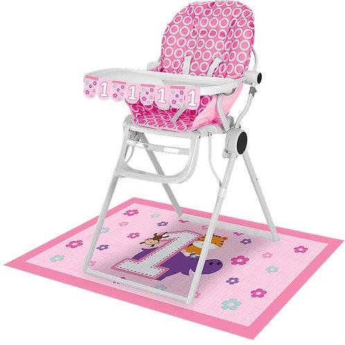 1st Birthday High Chair Decorating Kit Pink