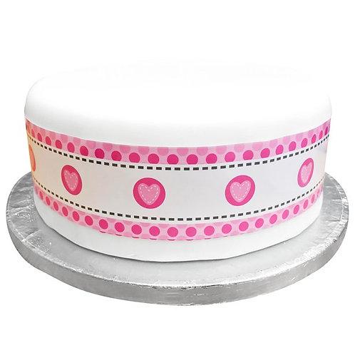 Pink Hearts Stitch Cake Frill