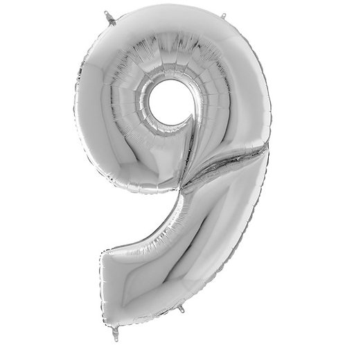 """Number 9 Silver Foil Balloon- 64"""""""