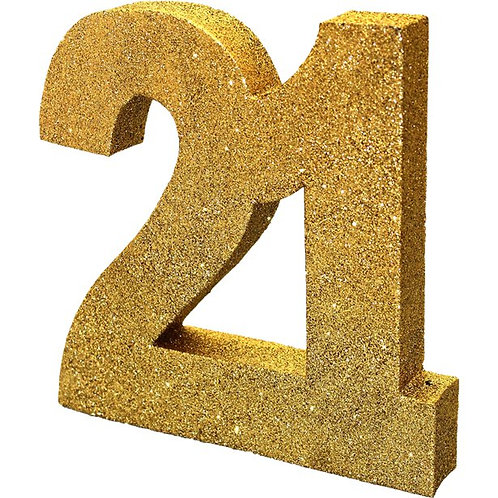 21st Gold Table Centrepiece Number