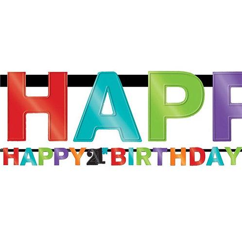 21st Happy Birthday Letter Banner