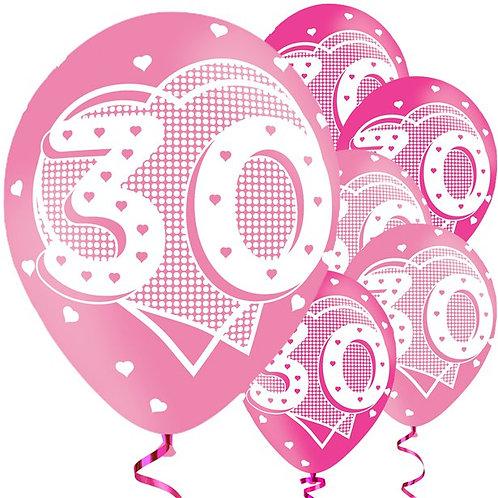 Happy 30th Birthday Pink Balloons