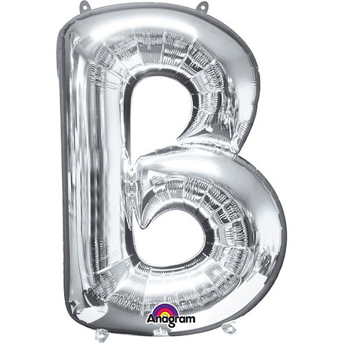 """Giant Foil Helium Letter B Balloons Size 34"""" Silver"""