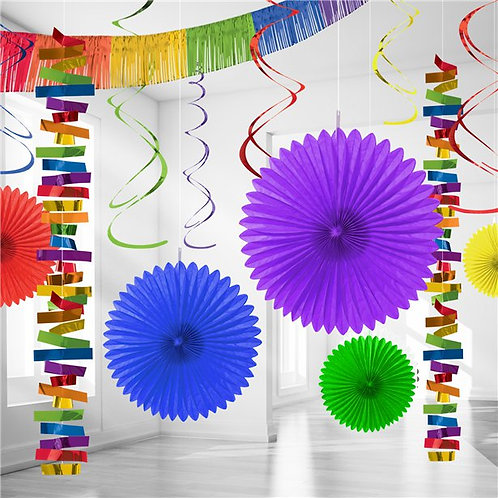 Rainbow Paper & Foil Room Party Decorating Kit.