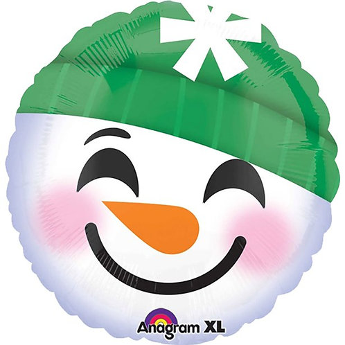 "Snowman Smiley Face Balloon. 18"" Foil"