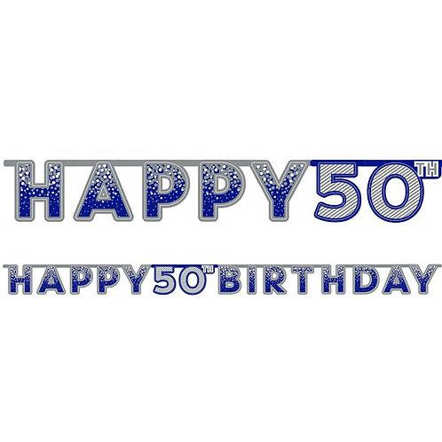50th Happy Birthday Letter Banner Blue
