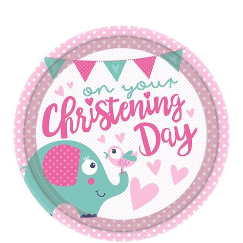 Christening Day Pink Paper Plates