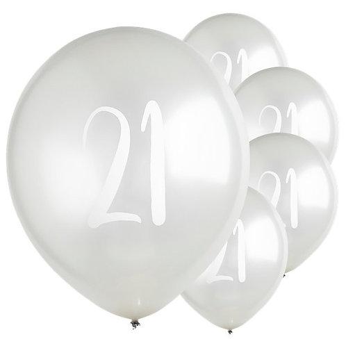 21st Birthday Silver Balloons