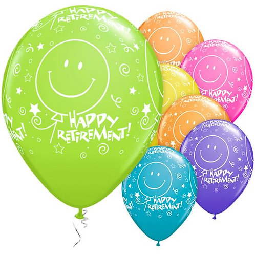 Happy Retirement Smile Face Party Balloons. Pack Of 6
