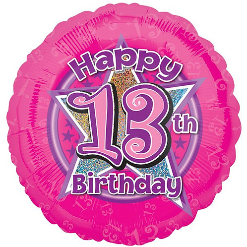 13th Birthday Stars Foil Balloon Pink