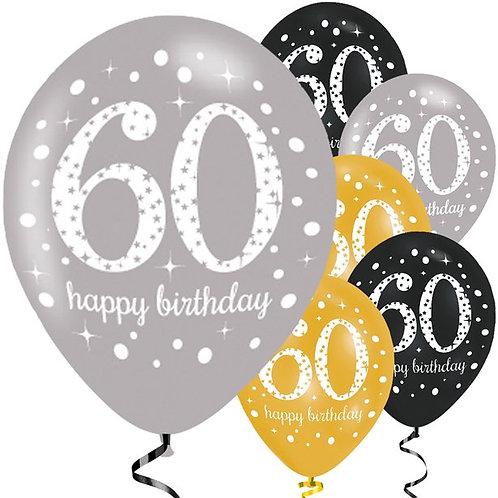 60th Happy Birthday Gold Mix Party Latex Balloons