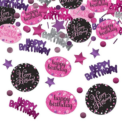 Happy Birthday Pink Sparkling Table Confetti