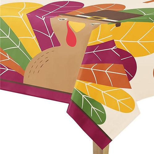 Thanksgiving Gobble Gobble Plastic Table Cover