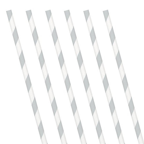 Silver Stripe Paper Straws. Pack Of 24