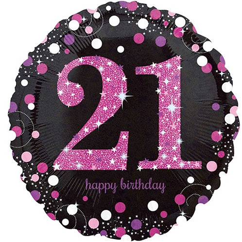 21st Pink Sparkling Celebration Foil Balloon