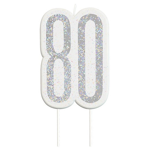80th Birthday Silver Glitter Cake Candle