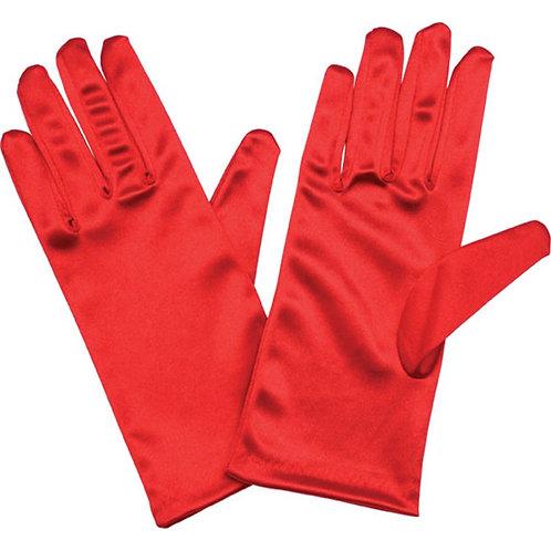 Adult Short Red Satin Gloves