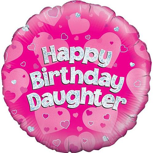 Happy Birthday Daughter Helium Pink Foil Balloon