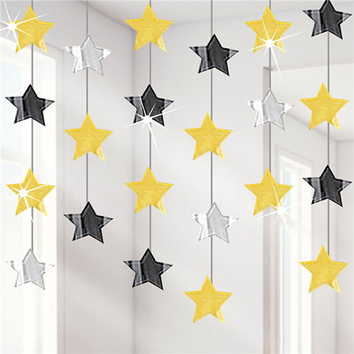 Star Hanging Coloured Swirl Decorations