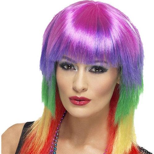 Fancy Dress 80s Rock Rainbow Wig