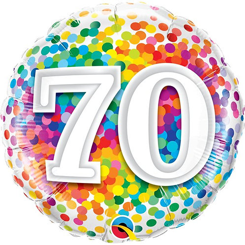 70th Birthday Rainbow Confetti Foil Balloon