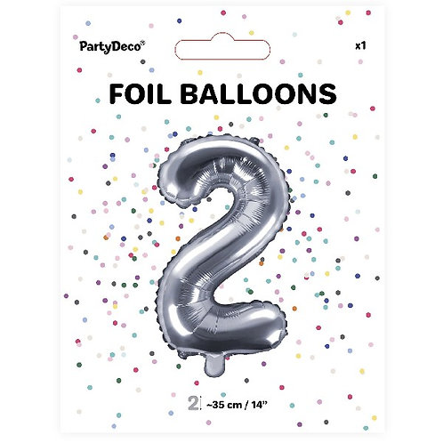 Silver Number 2 Air Fill Balloon