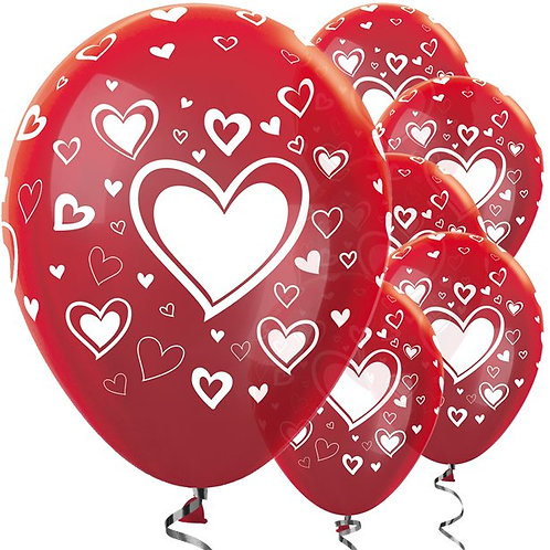 Red & White Hearts Latex Balloons