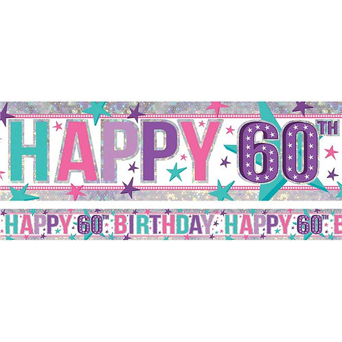 60th Birthday Holographic Pink Foil Banner