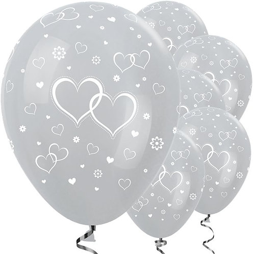 Satin Silver Entwined Hearts Latex Balloons