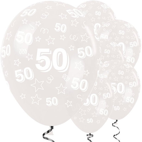 50th Birthday Clear Stars Latex Balloons